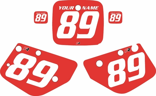 1986-1989 Yamaha YZ490 Custom Pre-Printed Red Background - White Numbers by Factory Ride