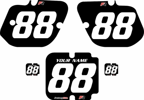 1987 Kawasaki KX500 Custom Pre-Printed Background Black - White Numbers by Factory Ride