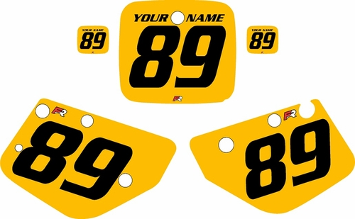 1986-1989 Yamaha YZ490 Custom Pre-Printed Yellow Background - Black Numbers by Factory Ride