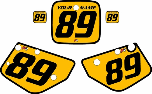 1986-1989 Yamaha YZ490 Custom Pre-Printed Yellow Background - Black Bold Pinstripe by Factory Ride