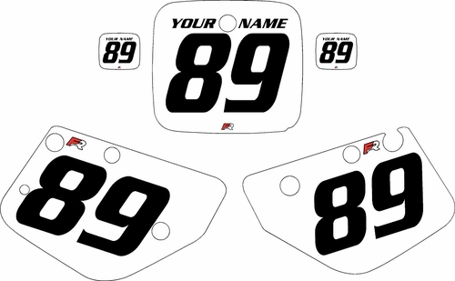 1986-1989 Yamaha YZ490 Custom Pre-Printed White Background - Black Numbers by Factory Ride