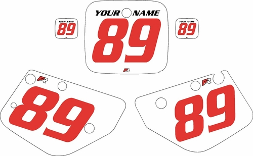 1986-1989 Yamaha YZ490 Custom Pre-Printed White Background - Red Numbers by Factory Ride