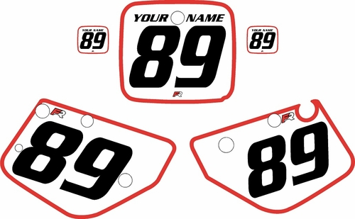 1986-1989 Yamaha YZ490 Custom Pre-Printed White Background - Red Bold Pinstripe by Factory Ride