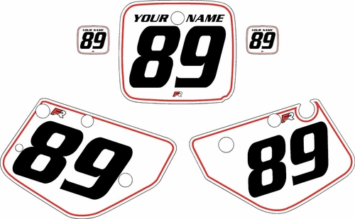 1986-1989 Yamaha YZ490 Custom Pre-Printed White Background - Red Pinstripe by Factory Ride