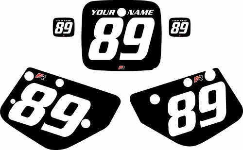 1986-1989 Yamaha YZ490 Custom Pre-Printed Black Background - White Numbers by Factory Ride