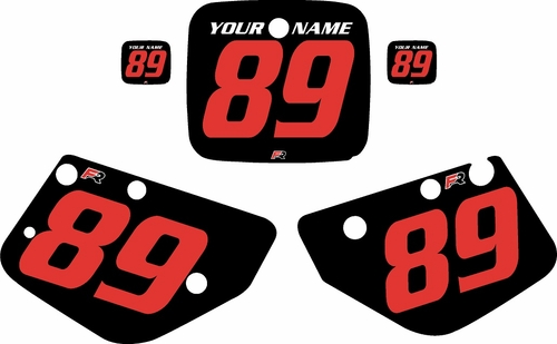 1986-1989 Yamaha YZ490 Custom Pre-Printed Black Background - Red Numbers by Factory Ride