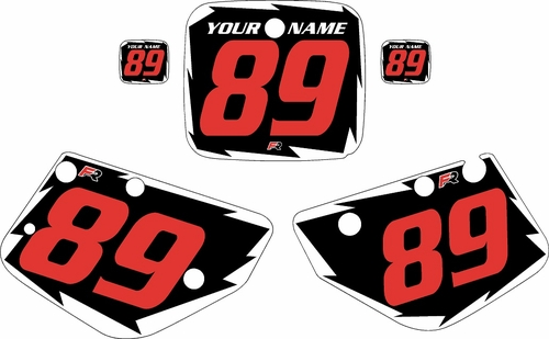 1986-1989 Yamaha YZ490 Pre-Printed Black Background - White Shock Series - Red Number by Factory Ride