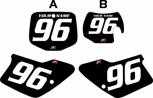 1996-2001 GAS GAS EC125 Custom Pre-Printed Background Black - White Numbers by Factory Ride