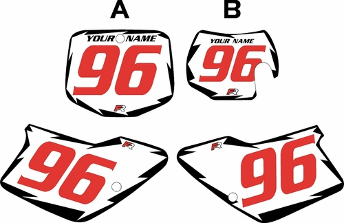 1996-2001 GAS GAS EC125 Pre-Printed Backgrounds White - Black Shock - Red Numbers by FactoryRide