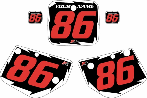 1986-1988 Yamaha YZ125 Pre-Printed Black Background - White Shock Series - Red Number