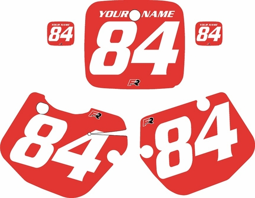 1984-1985 Yamaha YZ490 Custom Pre-Printed Red Background - White Numbers by Factory Ride