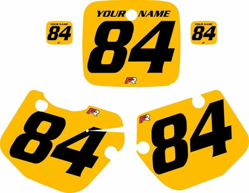1984-1985 Yamaha YZ490 Custom Pre-Printed Yellow Background - Black Numbers by Factory Ride