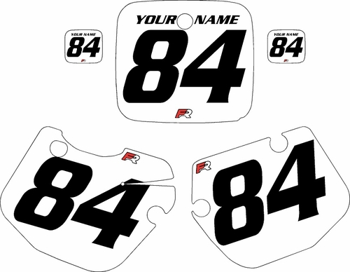 1984-1985 Yamaha YZ490 Custom Pre-Printed White Background - Black Numbers by Factory Ride