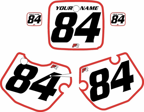 1984-1985 Yamaha YZ490 Custom Pre-Printed White Background - Red Bold Pinstripe by Factory Ride