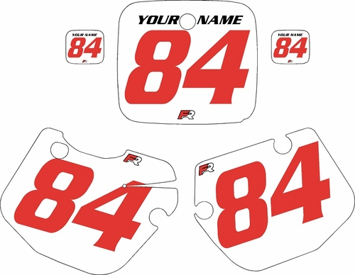 1984-1985 Yamaha YZ490 Custom Pre-Printed White Background - Red Numbers by Factory Ride