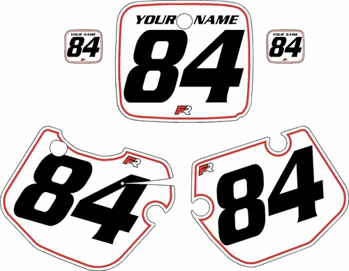 1984-1985 Yamaha YZ490 Custom Pre-Printed White Background - Red Pinstripe by Factory Ride