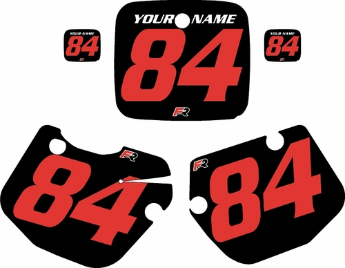 1984-1985 Yamaha YZ490 Custom Pre-Printed Black Background - Red Numbers by Factory Ride