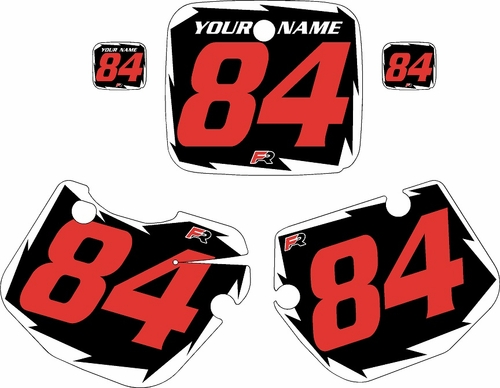 1984-1985 Yamaha YZ490 Pre-Printed Black Background - White Shock Series - Red Number by Factory Ride