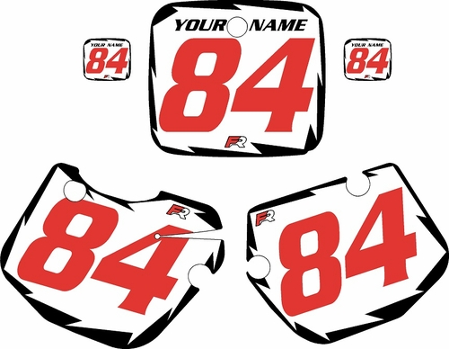 1984-1985 Yamaha YZ490 Pre-Printed White Background - Black Shock Series - Red Number by Factory Ride