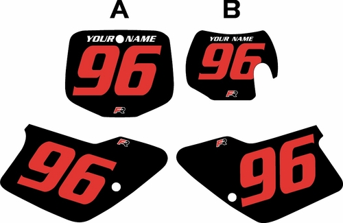 1996-2001 GAS GAS EC250 Custom Pre-Printed Background Black - Red Numbers by Factory Ride