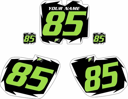 1985-1986 Kawasaki KX500 Pre-Printed Black Background - White Shock Series - Green Number by Factory Ride