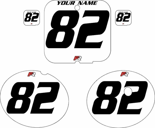 1981 Suzuki RM250 White Pre-Printed Backgrounds - Black Numbers by FactoryRide