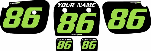 1986-2004 Kawasaki KX60 Pre-Printed Backgrounds Black - Green Numbers by FactoryRide