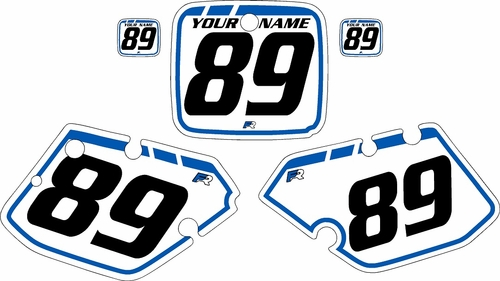 1989-1990 Yamaha YZ125 Custom Pre-Printed Background White - Blue Retro by Factory Ride
