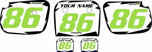 1986-2004 Kawasaki KX60 Pre-Printed White Background - Black Shock Series - Green Number by Factory Ride
