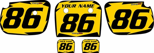 1986-2004 Kawasaki KX60 Custom Pre-Printed Background Yellow - Black Shock by Factory Ride