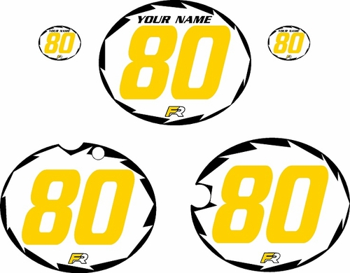 1980-1981 Yamaha YZ465 Pre-Printed White Background - Black Shock Series - Yellow Number by Factory Ride
