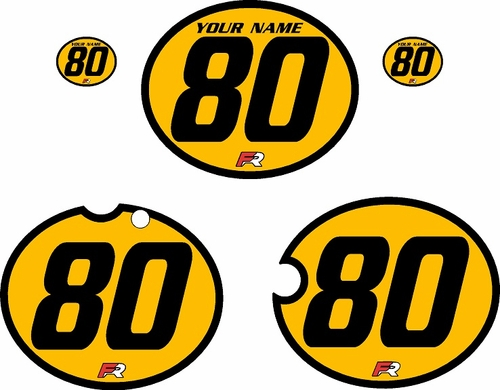 1980-1981 Yamaha YZ465 Custom Pre-Printed Yellow Background - Black Bold Pinstripe by Factory Ride