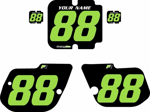 1986 Kawasaki KX125 Custom Pre-Printed Background Black - Green Numbers by Factory Ride
