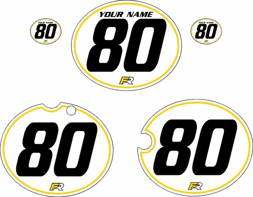 1980-1981 Yamaha YZ465 Custom Pre-Printed White Background - Yellow Pinstripe by Factory Ride