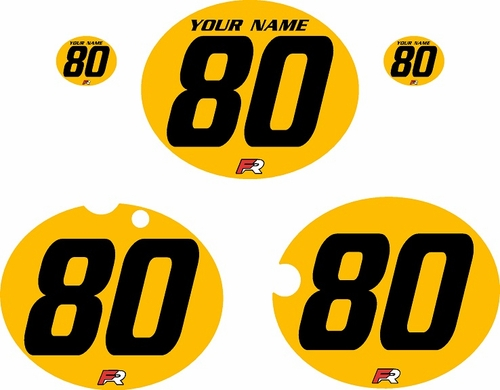 1980-1981 Yamaha YZ465 Custom Pre-Printed Yellow Background - Black Numbers by Factory Ride