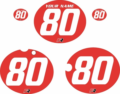 1980-1981 Yamaha YZ465 Custom Pre-Printed Red Background - White Numbers by Factory Ride