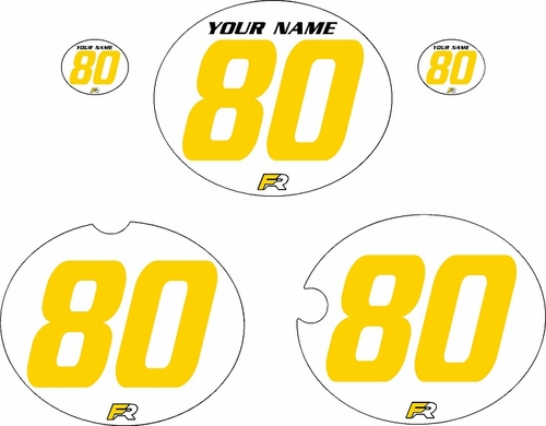 1980-1981 Yamaha YZ465 Custom Pre-Printed White Background - Yellow Numbers by Factory Ride
