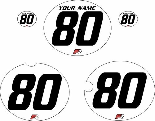 1980-1981 Yamaha YZ465 Custom Pre-Printed White Background - Black Numbers by Factory Ride
