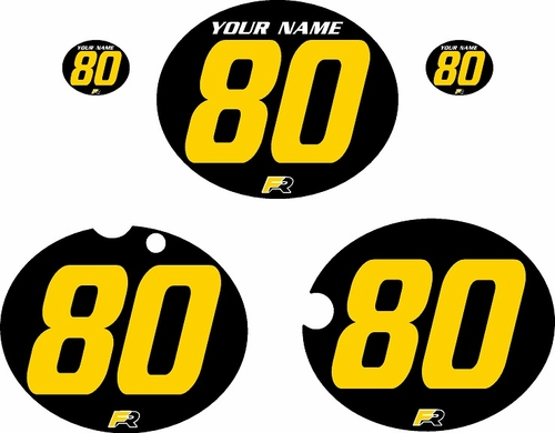1980-1981 Yamaha YZ465 Custom Pre-Printed Black Background - Yellow Numbers by Factory Ride