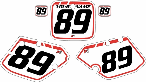 1989-1990 Yamaha YZ125 Custom Pre-Printed Background White - Red Retro by Factory Ride