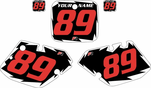 1989-1990 Yamaha YZ125 Pre-Printed Black Background - White Shock Series - Red Number by Factory Ride