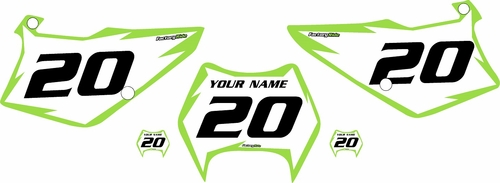 1997-2005 Kawasaki KDX220 Pre-Printed Backgrounds White - Green Shock Series by FactoryRide