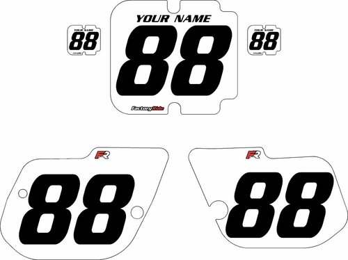 1986 Kawasaki KX125 Custom Pre-Printed Background White - Black Numbers by Factory Ride