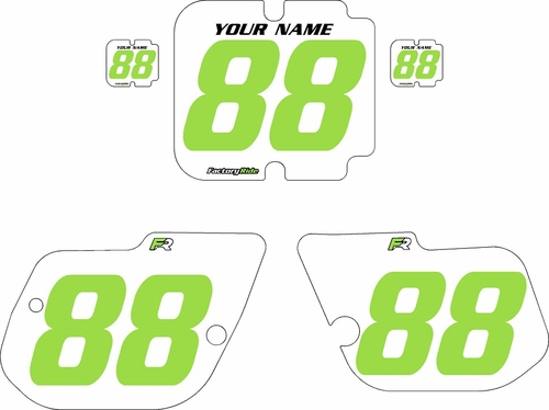 1986 Kawasaki KX125 Custom Pre-Printed Background White - Green Numbers by Factory Ride