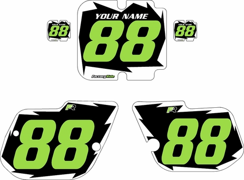 1986 Kawasaki KX125 Pre-Printed Black Background - White Shock Series - Green Number by Factory Ride