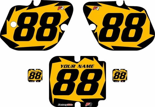 1987 Kawasaki KX250 Custom Pre-Printed Background Yellow - Black Shock Series by Factory Ride