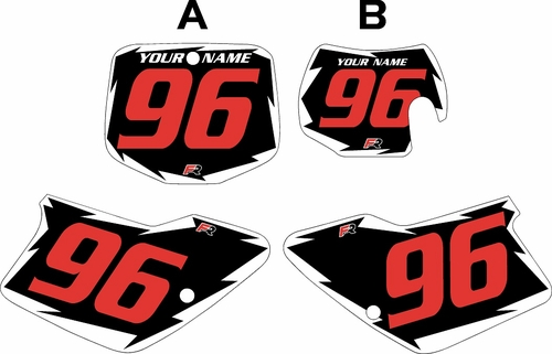 1996-2001 GAS GAS EC250 Pre-Printed Backgrounds Black - White Shock - Red Numbers by FactoryRide