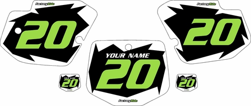 1996-2004 Kawasaki KX500 Pre-Printed Black Background - White Shock Series - Green Number by Factory Ride