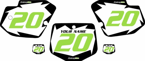 1996-2004 Kawasaki KX500 Pre-Printed White Background - Black Shock Series - GreenNumber by Factory Ride