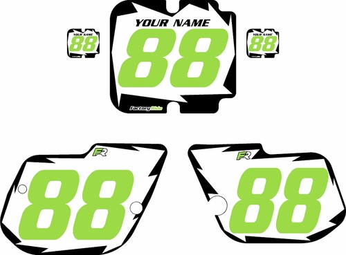1986 Kawasaki KX125 Pre-Printed White Background - Black Shock Series - Green Number by Factory Ride